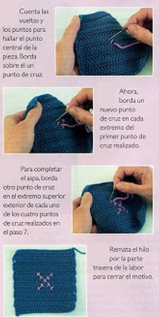 bordado sobre crochet embroidery over ganchillo