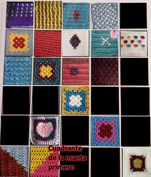 cuadrante manta crochet vintage