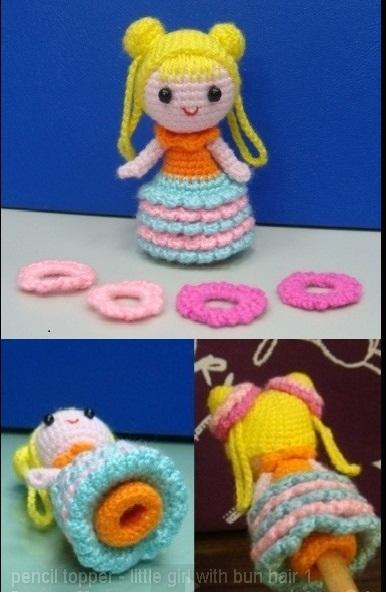 pencil topper girl crochet