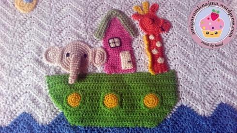 acrylic yarn baby blanket noah arch crochet