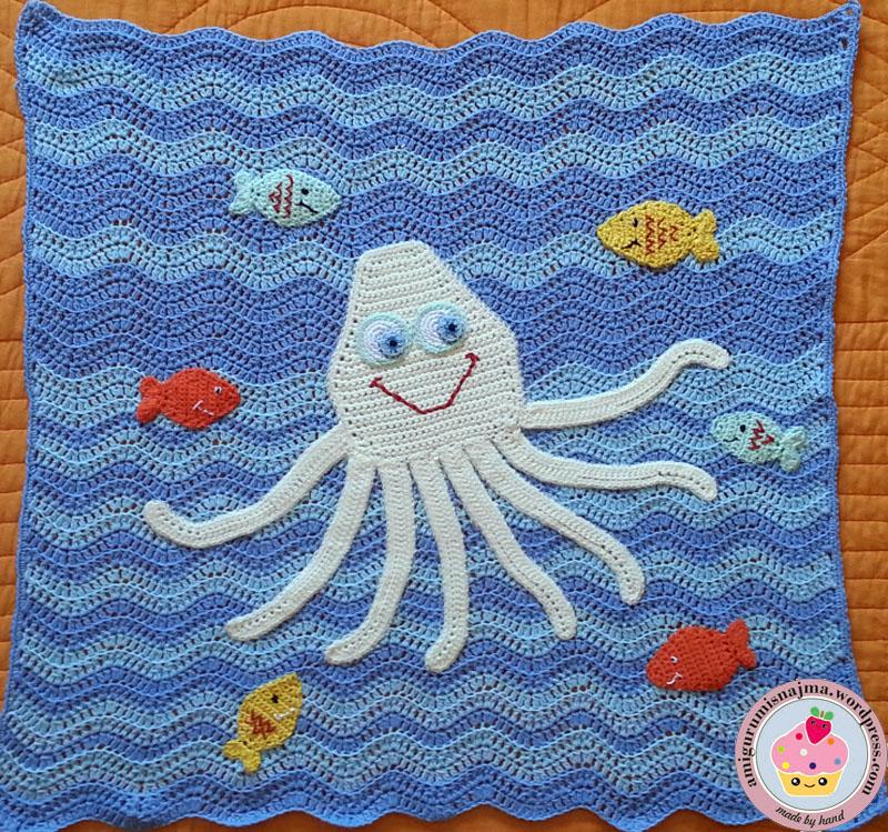 Manta bebe pulpo octopus baby blanket labores de najma - Manta de bebe a ganchillo ...