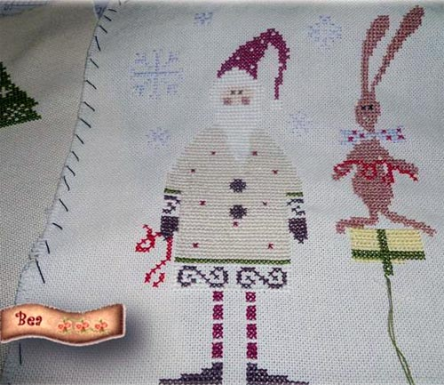 madame chantilly santa and his helper white embroidery