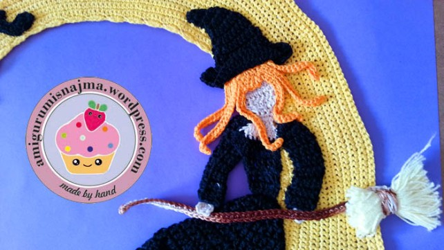 bruja halloween luna tapete crochet ganchillo