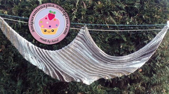 chal dos agujas knitted shawl