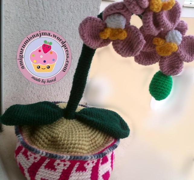 orchid crochet pot orquidea ganchillo