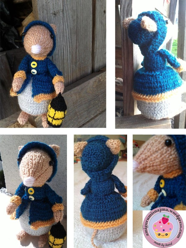 dickensian mouse  knitted toy doll najma