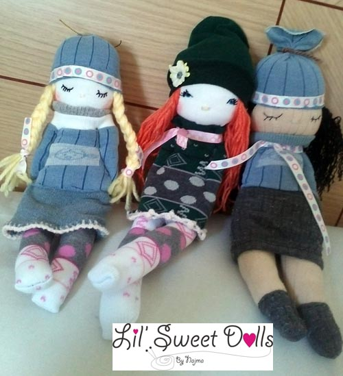 muñecas calcetin sock doll lil sweet dolls najma12