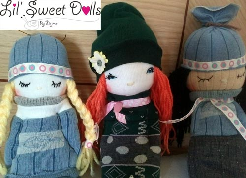 muñecas calcetin sock doll lil sweet dolls najma13