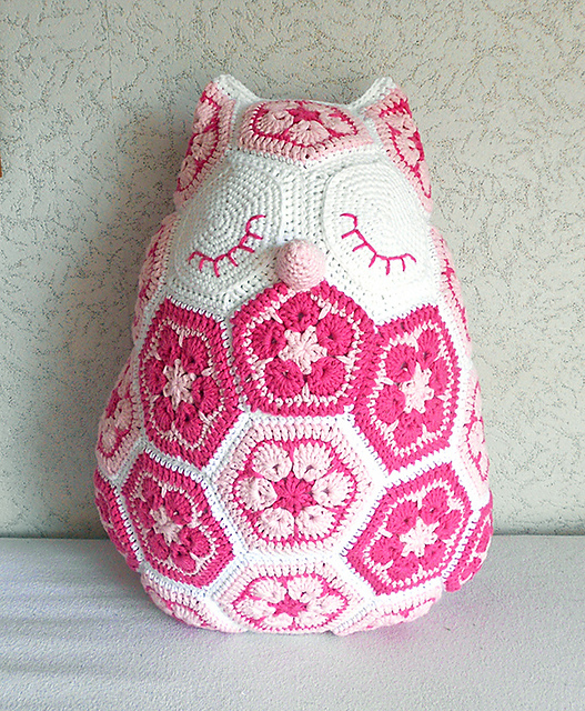 Maggie the African Flower Owl Pillow Crochet