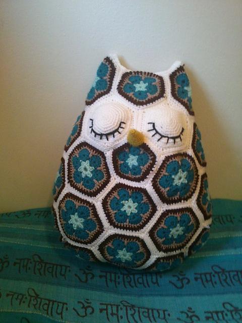 Maggie the African Flower Owl Pillow Crochet