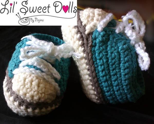 converse bebe ganchillo baby booties