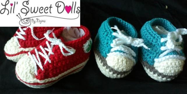 baby sneakers booties crochet botitas bebe ganchillo