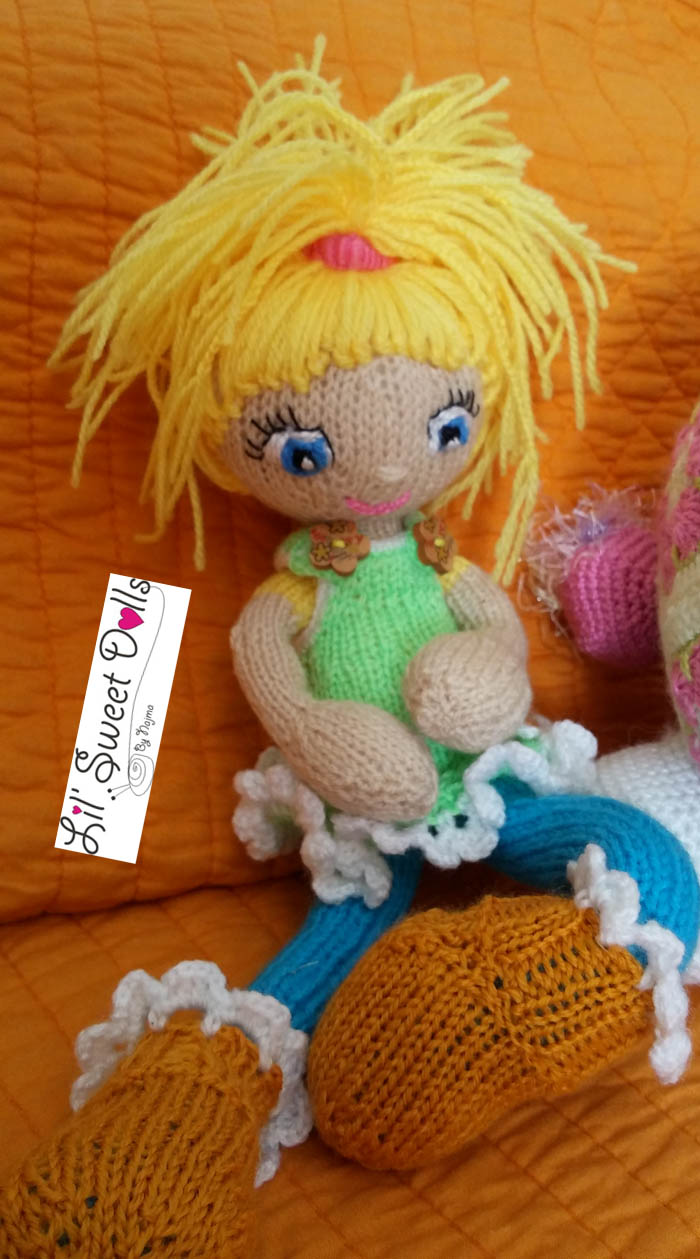 girl toy doll knitted yarn