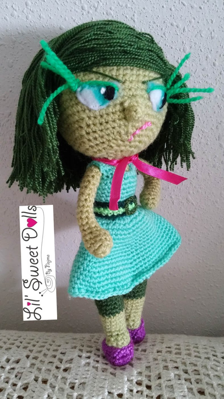 toy girl disgust inside out amigurumi doll muñeca ganchillo crochet