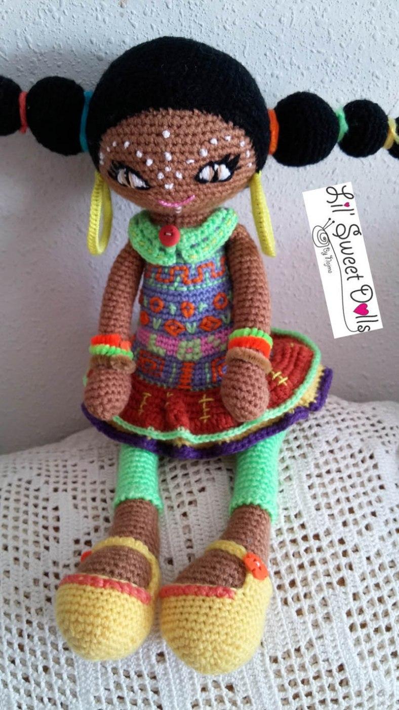 muñeca africana african doll crochet muñeca negrita ganchillo najma crochet  amigurumi01
