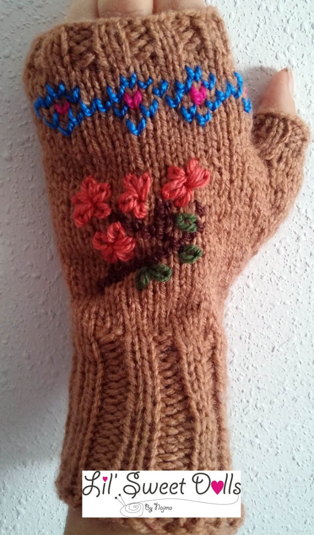 guantes gloves fingerless knit