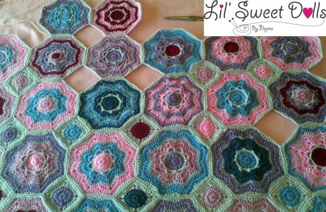 manta realta ganchillo crochet blanket hexagon
