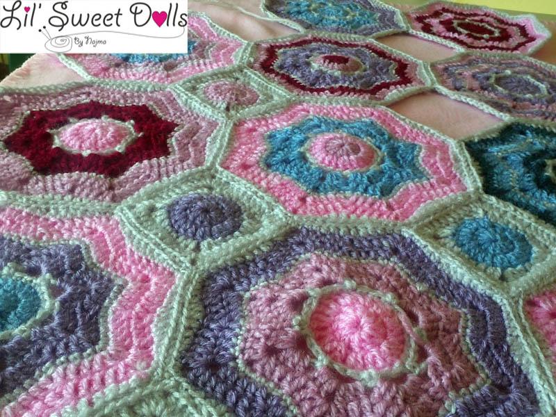 blanket crochet manta ganchillo hexágonos réalta blanket
