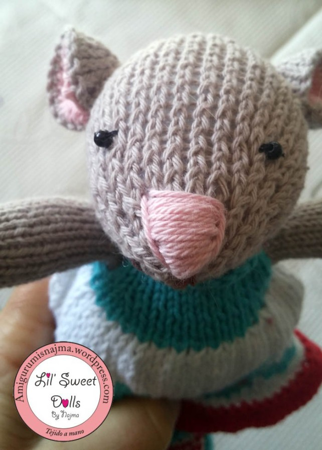 cute lovely knitted mouse gift toy weamigurumi muñeca tejido calceta