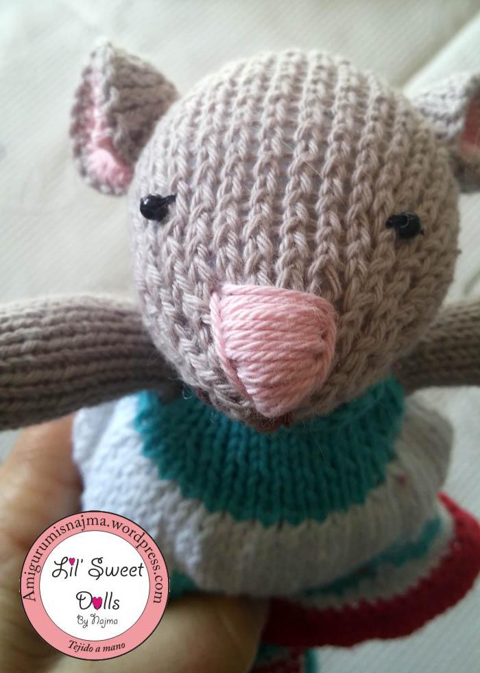 cute lovely knitted mouse gift toy weamigurumi muñeca tejido calceta